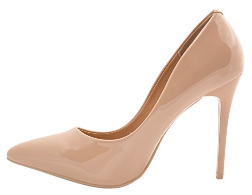 Elara Spitze Damen Pumps | Bequeme Lack Stilettos | Elegante High Heels Nude