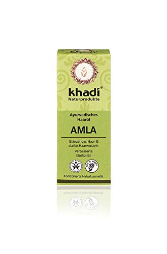 khadi Ayurvedisches Haar-Öl Amla 10ml I natürliche Haar-Pflege für jedes Haar I traditionelles Mittel bei Haarausfall und grauen Haaren I Naturkosmetik aus pflanzlichen Ölen und Kräutern - öl Amla Haar