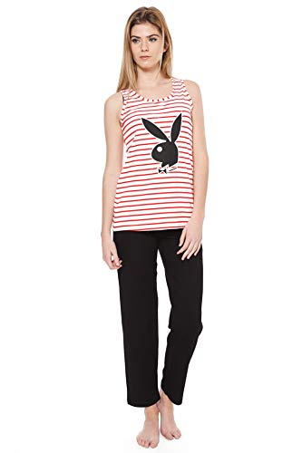 3edaefc5c8 Play Boy Nightwear Pijama Nightwear Confortable Bunny Rojo/Negro S