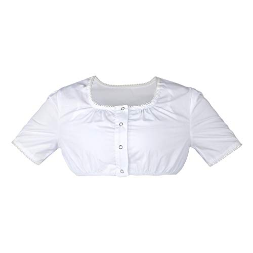 HBBMagic Dirndlbluse Weiß Damen Dirndl Bluse Baumwolle Trachtenbluse Größe 32-42