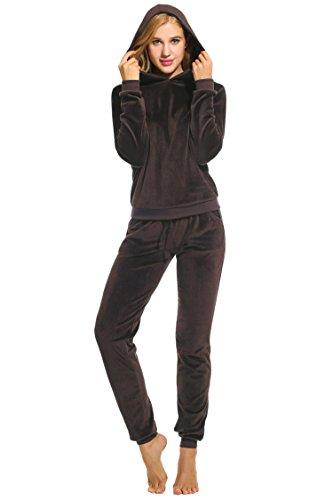 Unibelle Hausanzug Damen Trainingsanzug Jogginganzug Anzug Zweiteiliger Velour Freizeitanzug Oberteil und Hose mit Kapuze Reißverschluss Taschen