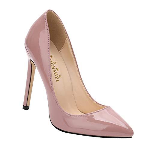 Yudesun Patent Leder Spitz Stöckelschuhe - Frauen Stiletto Gericht Pumps Einfach Mode Büro Klassisch Bankett Schuhe Formelle Arbeit