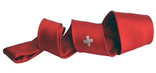 Krawatte rot Fahne Schweiz Swiss Suisse Svizra Helvetica Flagge, edel gewebt in limitierter Auflage. Design P20010-A7 Pietro Baldini