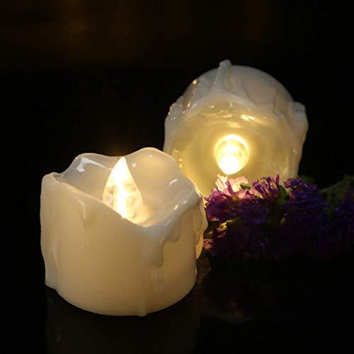 24er LED Kerzen Batteriebetriebene mit Timerfunktion, Echt Flammen Effekt Flackernde Teelichter, 6 Stunden auf und 18 Stunden Off, für Wohnungsdekoration, Geburtstag, Hochzeit (Warmweiß)