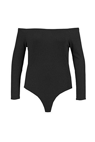 Noir Femmes Plus Olivia Body Côtelé À Épaules Dénudées Noir