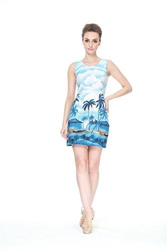 Hecho-en-Hawai-Mujer-hawaiano-Luau-Vestido-de-tanque-Palma-Mar-Scenic-en-Azul