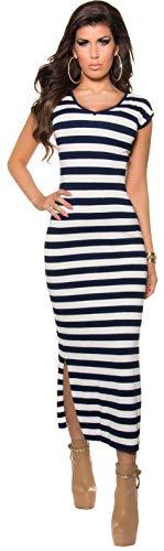 Firstclass Trendstore Maxi-Strickkleid gestreift * 34 36 38 * Streifen Maxikleid Kleid (900781 Marine ISF8740) -