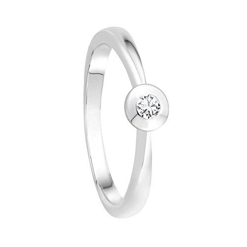 Diamond Line Diamant-Ring Damen 585 Weißgold mit 1 Brillianten 0.05 ct. Lupenrein