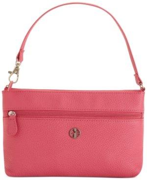 Preisvergleich Produktbild Giani Bernini Womens Leather Pebbled Wristlet Handbag Pink Small