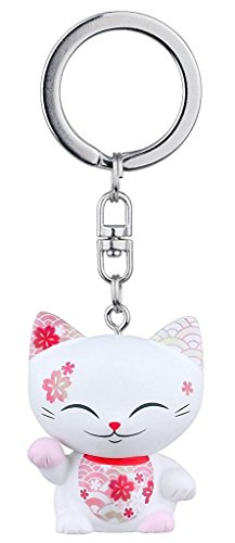 porte-cle-chat-porte-bonheur-mani-the-lucky-cat-blanc-collier-rose