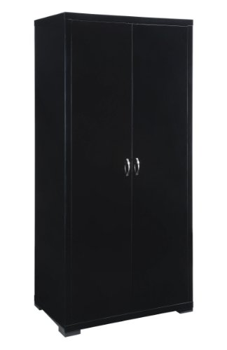 Luna Range Solid 2 Door Wardrobe(with internal drawer) in Scratch Resistant High Gloss Black