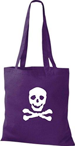 ShirtInStyle Stoffbeutel Skull Totenkopf Schädel diverse Farbe purple