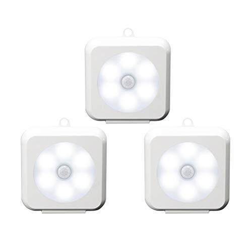 OSALADI Weißes Licht Smart Cabinet Pat Light Menschlicher Körper Sensor Square Night Light Keine Batterie enthalten 3PCS / Set