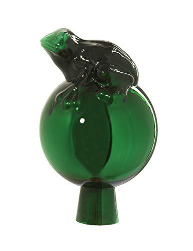 ELIAS Glashütte Original Rosenkugel Frosch auf Kugel 12 cm grün verspiegelt