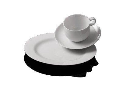 Rosenthal - Moon Kaffeeset 18-tlg. Weiß 6 x Frühstücksteller 22 cm/6 x Kaffeetasse 2-tlg.
