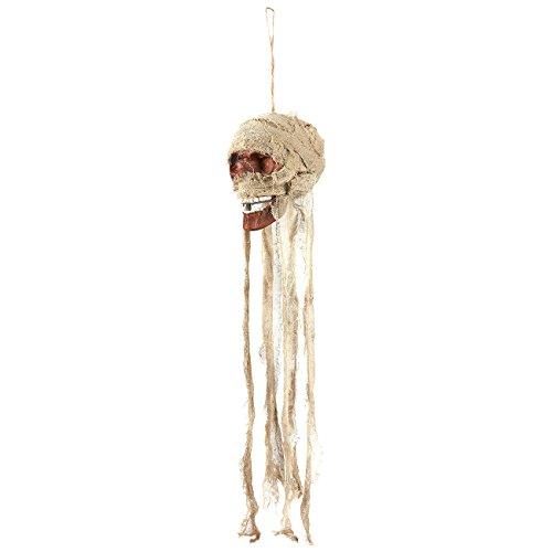 Hängende Totenkopf-Requisite – Gruselige Dekoration Halloween – Skelett Kopf Dekoration, 12,7 x 99 x 16,5 cm, Beige/Bronze
