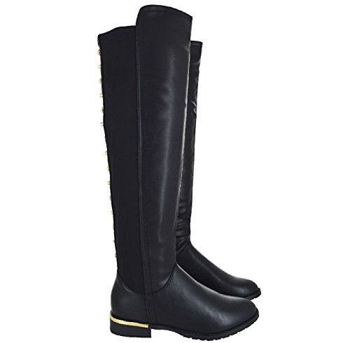 Ladies Womens Flat Low Heel Stretchy Over The Knee High Studded Boots Shoes Size