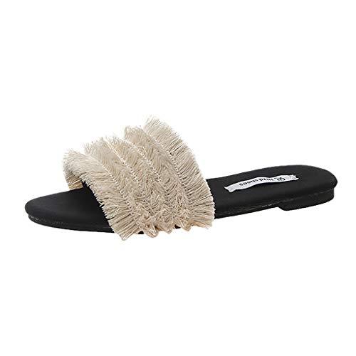 Lenfesh Hausschuhe Damen Sommer Pantoffeln Damenmode Wohnungen Schuhe Runde Zehe Hausschuhe Fringe Casual Hausschuhe Weiche Sohle Bequem Flip Flop