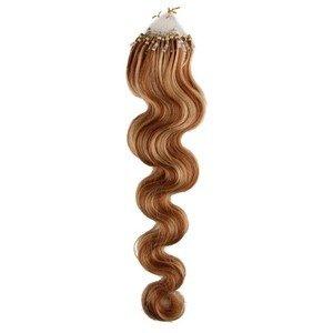 Beauty7 50 Extension de Cheveux Naturel Humaine 55 CM VAGUE DU CORPS / Ondule EASY LOOP Anneaux Pose a Froid - Couleur Marron clair / Blond clair #10/24 - Poids 50g 1g/meche