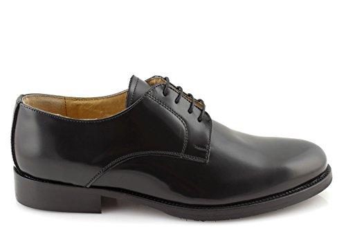 damalu Zapatos Hombre eleganti Maletín Clásico Negras Francesine Auténtica Piel Fondo Cuero Made In Italy kxgLr