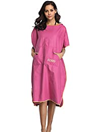 cb04a2653c2 FLYILY Changing Towel Poncho Robe Hooded light weight Microfiber surf  wetsuit changing with pocket