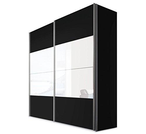 Schwebetürenschrank Kleiderschrank Schlafzimmerschrank FRANCO 4 | 2-türig | Dekor | Schwarz | mit Spiegel | 200x216x68 cm