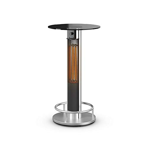 Swan Al Fresco SH16320N Bar Table Patio Heater, Anodized Aluminium Alloy Frame, Tempered Glass Table Top, 800 and 1600 Watts