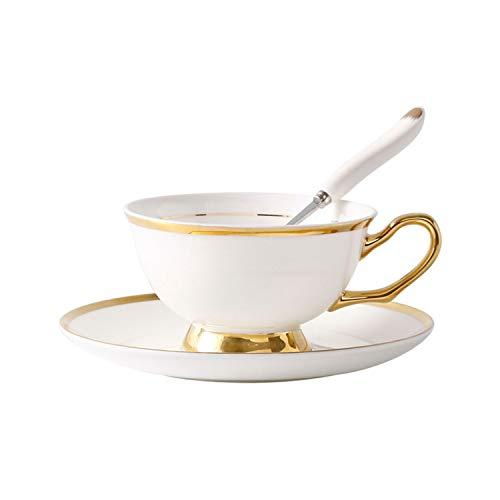 Europe Noble Bone China Kaffeetasse Untertasse Löffel Set 200ml Luxus Keramik Tasse Top Qualität Porzellan Tee Tasse Cafe Party Drinkware Einheitsgröße Gold Edge - Edge Kindersicher