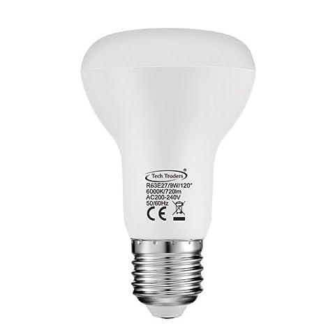 Tech Traders® R63Reflektor E27LED Strahler Leuchtmittel, Entspricht 90W Glühbirnen, LED 9W Kühles Weiß/Warm Weiß Energiesparend Leuchtmittel, Deckenpaneele,, nicht dimmbar, ES LED-Licht Glühbirne, Edison Schraube Leuchtmittel 1 Stück Cool White(6000K)