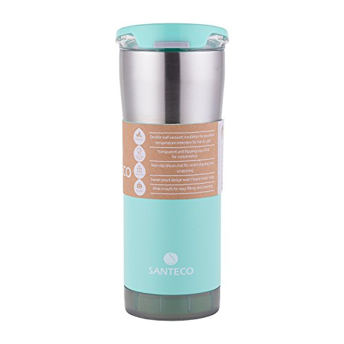 Santeco Double Walled Vacuum Insulated Thermal Mug with Unsealed Lid,Mint Green,590ml (Cover Deckel Cap Gas)