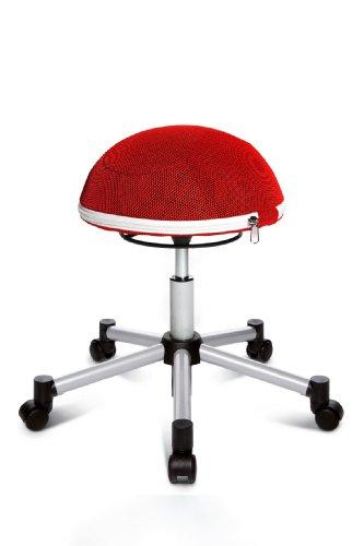 Topstar Sitness Half Ball, Fitness-Hocker, Arbeitshocker, Rollhocker, Dreidimensional bewegliche Sitzfläche, Stoffbezug, rot