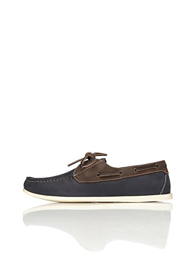 FIND Men's Boat Shoes With Stitching and Contrast Colours, Blue (Navy), 11 UK