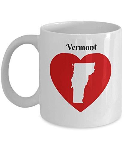 Vermont Coffee Mug Gift - Heart VT State Outline Map Mug Souvenir (Aus Vermont Socken)