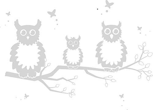 EmmiJules Wandtattoo Eule Tiere für Kinderzimmer Baum Ast Aufkleber Sticker Uhu Wald Eulenwandtattoo Nachteule Wohnzimmer Schlafzimmer Baby Mädchen Junge (Eule weiß)
