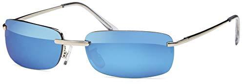 High Quality Rechteckige Herren Sonnenbrille mit Federscharnier Sunglasses Sportbrille Matrix Rad Brille Radbrille Sport (Blue)