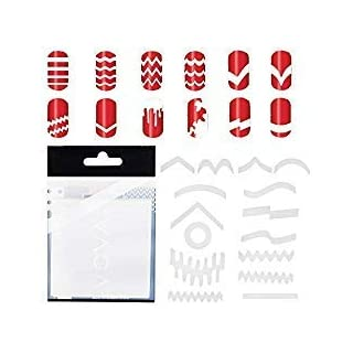 Amazing Deal 10 Sets With 347pcs Professional Nail Art Salons Quality White Guides Stickers / Strips In 13 Different Shapes For French Nails Manicure And Nails Designs / Patterns Application By VAGA by VAGA