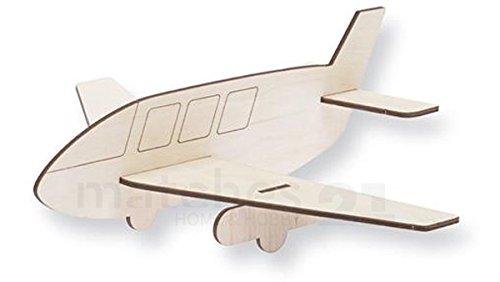 matches21 Flugzeug Holz Steckbausatz Kinder Holz Bausatz 1 Stk. zum Zusammenstecken & Bemalen Basteln ab 4 Jahren