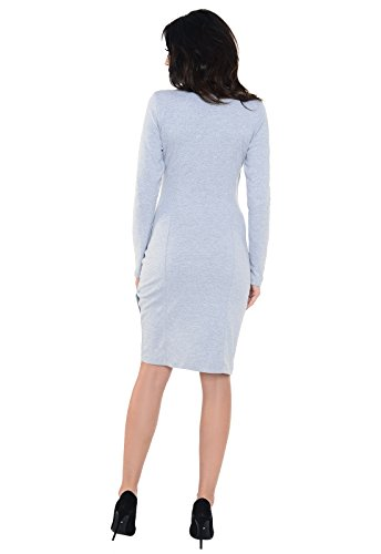 Purpless Maternity Moderne Side Plissee Schwangerschaft Kleid 6232 Light Gray Melange