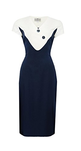 Collectif JENNA Nautical SAILOR 40s Pin Up PENCIL Dress KLEID Rockabilly Dunkelblau / Weiß