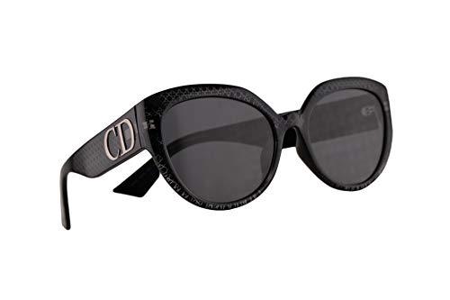 Christian Dior DDiorF Sonnenbrille Silber Schwarz Mit Grauen Gläsern 56mm PRN2K DDior