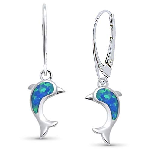 Opal Delfin Brisur Ohrringe 925 Echt Silber Rhodiniert mit synth. Opale Damen Mädchen Kinder Ohrhänger (Clip Ohrringe Opal Auf)