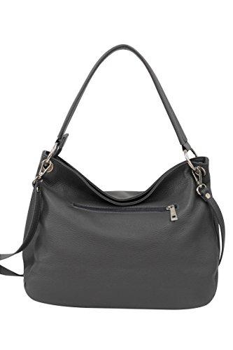 AMBRA Moda Damen echt Ledertasche Handtasche Schultertasche Beutel Shopper Umhängtasche GL002 Viele Farben Dunkelgrau