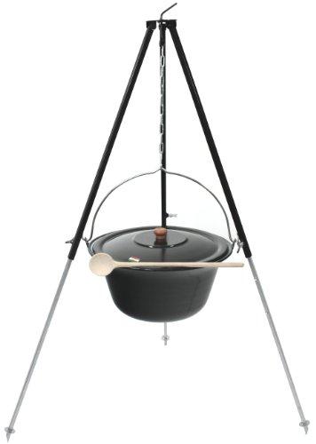 Grillplanet Gulaschkessel 15 Liter emailliert Teleskopgestell 130 schwarz Deckel Kochlöffel 35