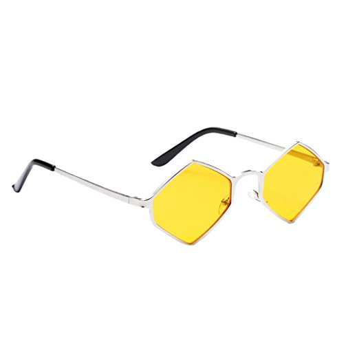 MagiDeal Damen Herren Sonnenbrille Rhombus Kleine Sonnenbrillen polarisierten Brille Kunststoff UV-Schutz Gläser Linse für Party Freizeit - Gelb