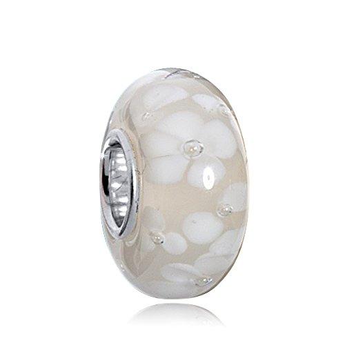 MATERIA Murano Glas Beads weiß mit Blüten - 925 Silber Muranoglas Beads weiß creme mit Blumen/Luftblasen für European Bead Armband #1588
