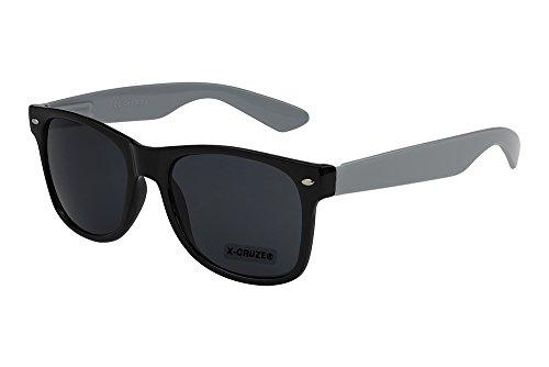 X-CRUZE® 8-080 X0 Nerd Sonnenbrille Retro Vintage Design Style Stil Unisex Herren Damen Männer Frauen Brille Nerdbrille - schwarz/grau