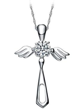 Chaomingzhen rhodiniert 925 Silber Zirkonia Kreuze Engel flügel Anhänger Halskette mit 18