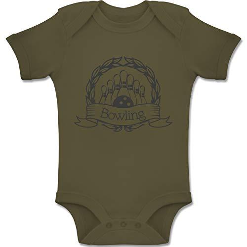 Sport Baby - Bowling Lorbeerkranz - 3-6 Monate - Olivgrün - BZ10 - Baby Body Kurzarm Jungen Mädchen