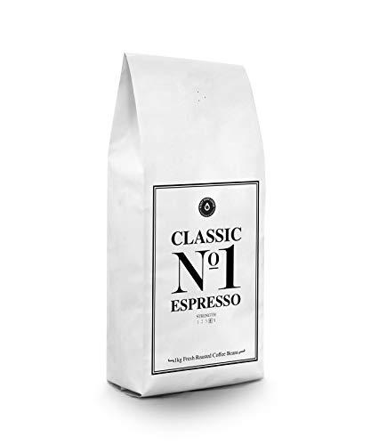 Frisch geröstete Espressobohnen 1kg - Classic No1 Espresso - Medium Roast Coffee   Großartige Super Crema   Intensives Aroma und voller Körper Fair Trade Kaffeebohnen   Kaffee nach italienischer Art