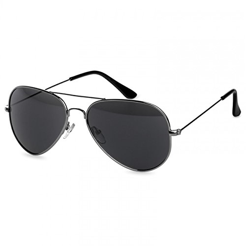 Caspar SG032 Unisex Classic RETRO Design Pilotenbrille Sonnenbrille, Farbe:silber/schwarz